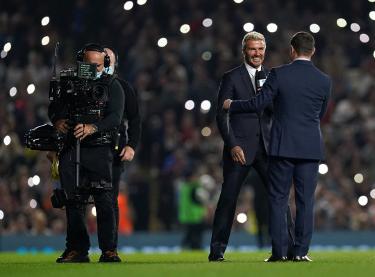 UNICEF goodwill ambassador David Beckham interviewed by presenter Dermot O'Leary during the SoccerAid for UNICEF match at the Etihad Stadium, Manchester. Picture date: Saturday September 4, 2021. PA Photo. See PA story SPORT Soccer Aid. Photo credit should read: Martin Rickett/PA Wire. RESTRICTIONS: Use subject to restrictions. Editorial use only, no commercial use without prior consent from rights holder.