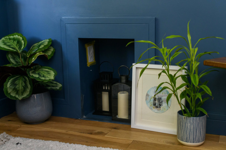 What I Rent, Hannah, £875 for a two-bedroom house in York: houseplants by empty fireplace