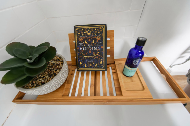 What I Rent, Hannah, £875 for a two-bedroom house in York: wooden tray in bathtub in bathroom