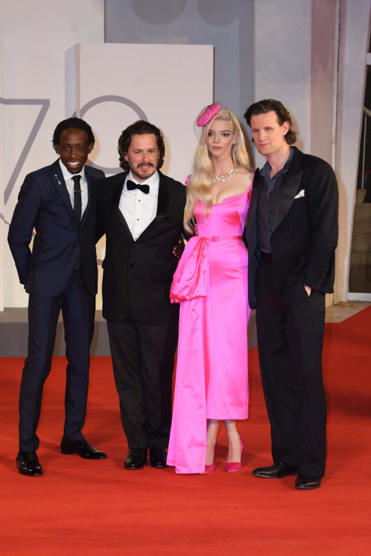 North/South America, UK, Australia Rights Only - Venice--20210904- Last Night in Soho Premiere at the 78th Venice International Film Festival -PICTURED: Michael Ajao, Edgar Wright, Anya Taylor-Joy, Matt Smith -PHOTO by: IPA/INSTARimages.com -IPA_IPA26316622.JPG This is an editorial, rights-managed image. Please contact Instar Images LLC for licensing fee and rights information at sales@instarimages.com or call +1 212 414 0207 This image may not be published in any way that is, or might be deemed to be, defamatory, libelous, pornographic, or obscene. Please consult our sales department for any clarification needed prior to publication and use. Instar Images LLC reserves the right to pursue unauthorized users of this material. If you are in violation of our intellectual property rights or copyright you may be liable for damages, loss of income, any profits you derive from the unauthorized use of this material and, where appropriate, the cost of collection and/or any statutory damages awarded