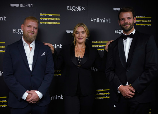 Kate Winslet and co-directors Ludo (right) and Otto Brockway attending the world premiere of the documentary, Eating Our Way To Extinction, which she narrated, at Odeon Leicester Square, London. Picture date: Wednesday September 8, 2021. PA Photo. Photo credit should read: Yui Mok/PA Wire