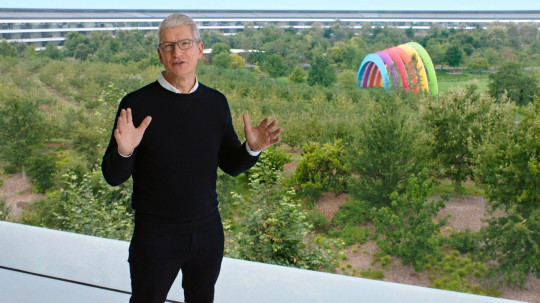 Apple CEO Tim Cook speaks during a special event at the company's headquarters of Apple Park in a still image from video taken in Cupertino, California, U.S. September 15, 2020. Apple Inc/Handout via REUTERS. NO RESALES. NO ARCHIVES THIS IMAGE HAS BEEN SUPPLIED BY A THIRD PARTY.