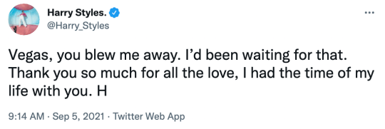 Harry Styles tweets after Las Vegas show