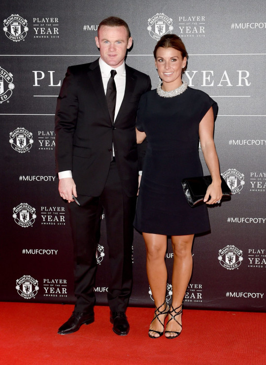 Wayne and Coleen Rooney. Manchester United Player of the Year Awards, Old Trafford, Britain - 02 May 2016 WEARING BALENCIAGA Mandatory Credit: Photo by Mcpix/Shutterstock (5669086bg)