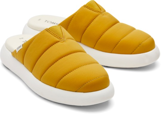 Toms? Mallow Puff is a comfy looking shoe with Ortholite eco insoles that boast a 26 per cent eco content, while the shoes also come with the TOMs promise to give one third of their profits to grassroots, non-profit good causes. ?60, toms.com. https://www.toms.com/uk/alpargata/alpargata-mallow-mule-brown-puff-slipper-ortholite/10016728.html