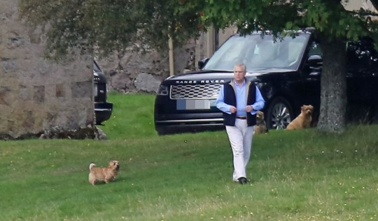 Prince Andrew who had lunch with the Queen and Sarah Ferguson at Inchnabobart Lodge on the Balmoral Estate.His car is parked next to the lodge...Pic taken from the public road in Glen Muick....pic Peter Jolly