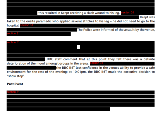 The heavily-redacted BBC report compiled after violence broke out and rap star Krept was stabbed at a 1Xtra gig in Birmingham (Picture: BBC)