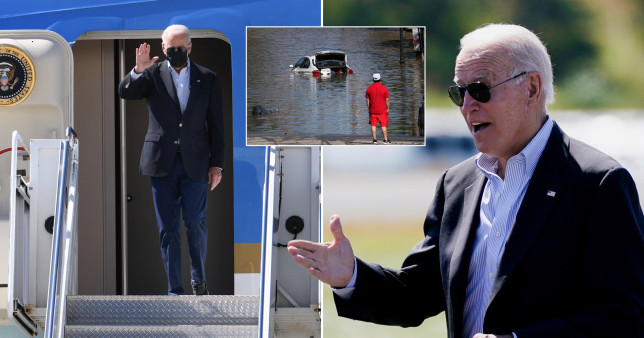 President Joe Biden arrived in New Jersey on Tuesday as part of a daylong tour of northeast neighborhoods hit by the remnants of Hurricane Ida