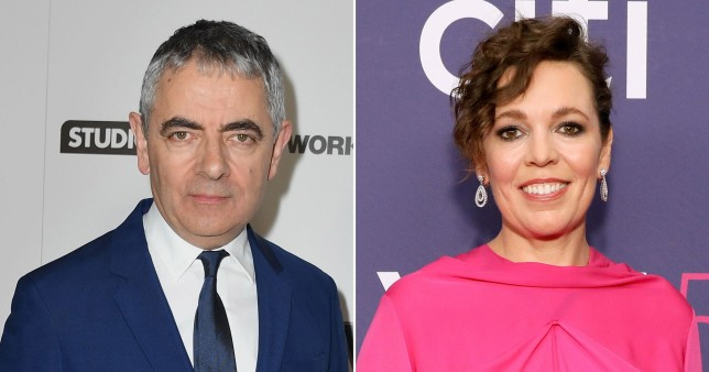 Rowan Atkinson and Olivia Colman pictured separately on red carpet